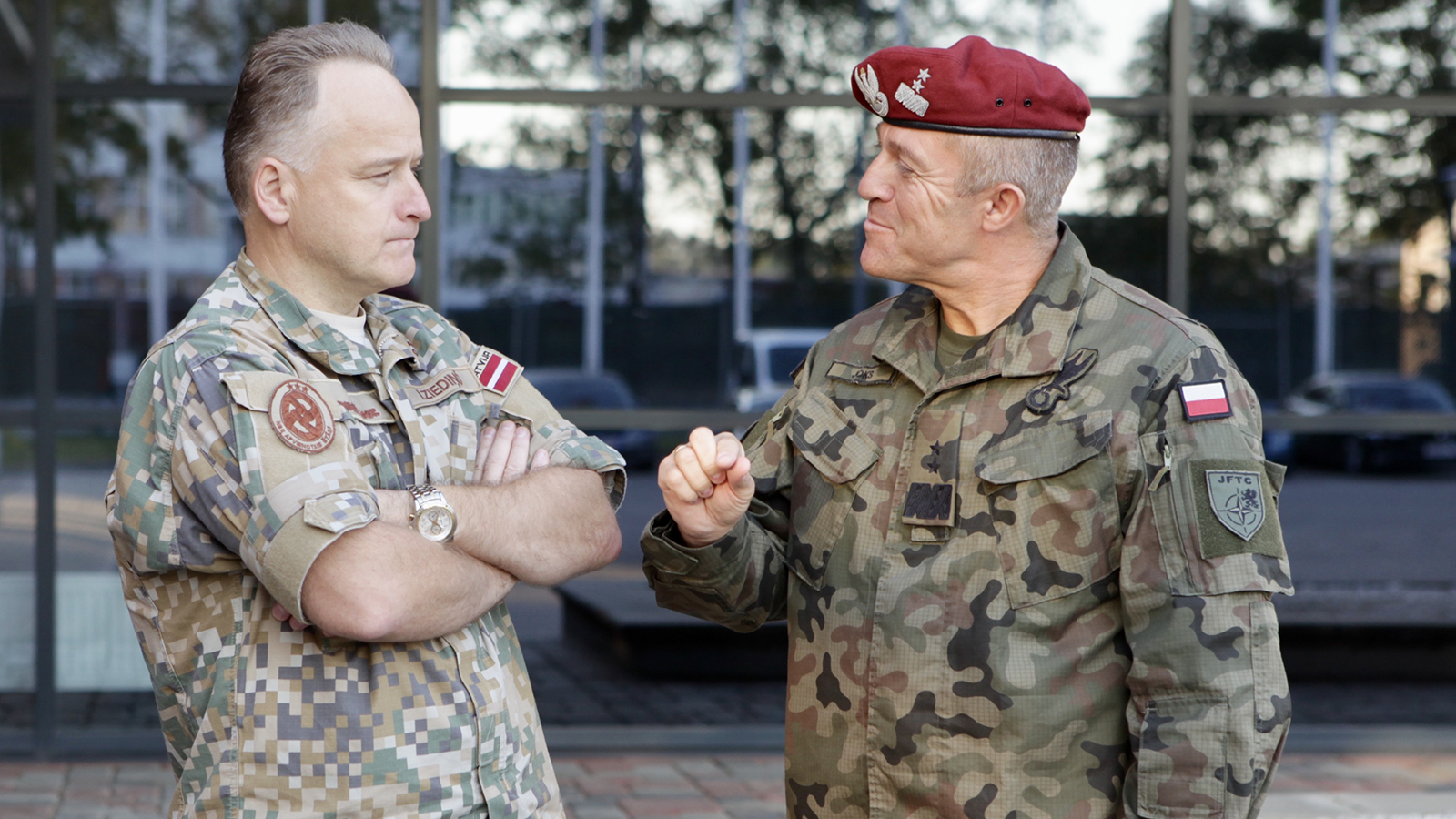 Major General Adam Joks, JFTC Commander, and Brigadier General Imants Ziedins, Chief of Staff Latvian Armed Forces Joint HQ